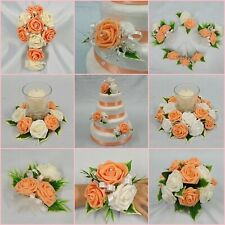 WEDDING FLOWERS APRICOT PEACH BRIDE B/MAID F/GIRL BOUQUET WAND CORSAGE PACKAGE
