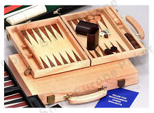 """WOODEN BACKGAMMON SET DELUXE OAK CASE 15"""" STONES DICE CUPS TRADITIONAL GAME"""