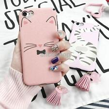 For iPhone 7 7 Plus 6 6S Cute Pink Smile Cat Face Stars Tassel Soft Case Cover