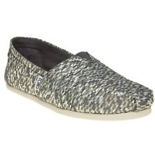 New Womens Toms Grey Multi Classic Textile Shoes Canvas Slip On