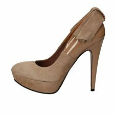 scarpe donna GIANNI MARRA decolte marrone camoscio vernice AD112