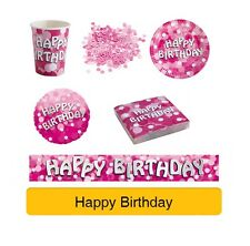 PINK SPARKLE Birthday Party Range HAPPY BIRTHDAY - Tableware Banners Decs AMSCAN