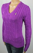 Ralph Lauren Lightweight Purple Cable Knit V-Neck Sweater Green Pony NWT