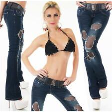 SEXY DESTROYED BOOTCUT JEANS USED-LOOK INKL. GÜRTEL DUNKELBLAU #H1463