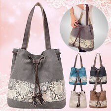 New Travel Messenger Women Canvas Beach Drawstring Tote Handbag Shoulder Bag