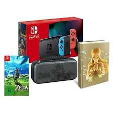Switch Konsole neon + Zelda Breath of the Wild Lösungsbuch Tasche Bundle Set NEU
