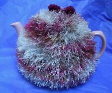 Funky fluffy tea cosy MULTICOLOURED  hand knitted in Wales wine, grey, brown