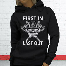 FIRST IN LAST OUT FIREMAN FIRE DEPT HERO COURAGE Womens Black Hoodie
