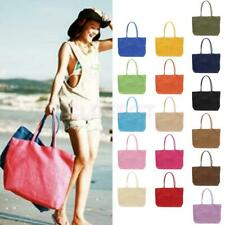 Women Summer Straw Weave Shoulder Tote Shopping Lady Beach Bag Purse Handbag