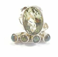 GREEN AMETHYST LABRADORITE 925 STERLING SILVER RING UK HALLMARKED SIZE Q (8.25)