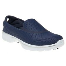 New Womens Skechers Blue Go Walk 3 Unfold Nylon Trainers Running Style Slip On