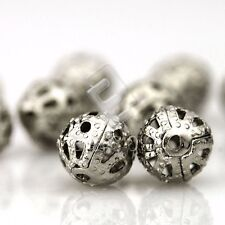 70/160/300pcs Rond Perles en Métal Creation DIY 4/6/8mm Nickel/Doré/Argent