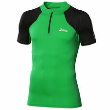 Asics Short Sleeve 1/2 Zip T-shirt Mens Running Top Green 113195 0904 UA128