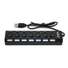 7-Port USB 2.0 Multi Charger Hub + High Speed Adapter PC ON/OFF Switch Laptop/PC