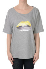 GOLDEN GOOSE Women Grey Printed Cotton T-Shirt Made in Italy NWT