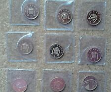 COLLECTION of 9 PROOF 1p ONE PENCE COINS in plastic coin envelopes. 99p START.