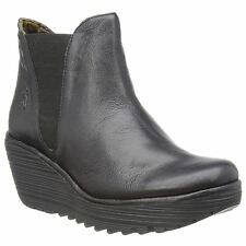 Fly London Yoss Black Womens Leather Pull on Chelsea Wedge Casual Ankle Boots