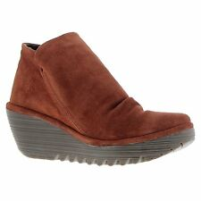 Fly London Yip Brick Womens Wedge Boots Suede Leather