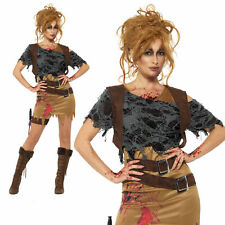 Zombie Action Girl Costume Ladies Jungle Huntress Halloween Fancy Dress