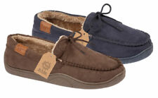 Mens Fur Lined Bow Lace Slip On Faux Suede Renard Loafers Moccasin Slippers UK