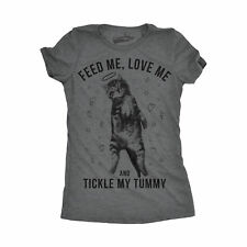 Womens Feed Me Love Me Kitty Funny T shirt Cat Face Tees Novelty Hilarious T shi