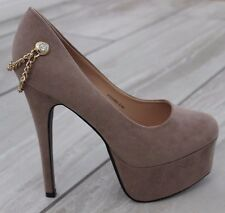 Ladies High Stiletto Heel Gold Chain Smart Party Casual Evening Court Shoes Size
