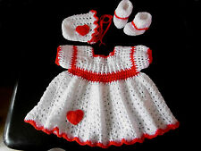 NEW Hand Made Crocheted Baby Girl 3 Piece Dress Sets 0-3 Months Various Colours