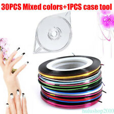 30 Pcs Mixed Colors Rolls Striping Tape Line Nail Art Tips Decoration Sticker p0