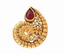 NEW ONE GRAM GOLD PLATED KUNDAN PACHIKAM RUBY STONE ADJUSTABLE FINGER RING F503