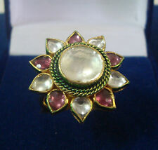 NEW ONE GRAM GOLD PLATED KUNDAN PACHIKAM STONE ADJUSTABLE FINGER RING F499