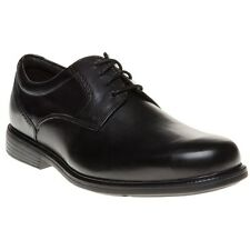 New Mens Rockport Black Charlesroad Plaintoe Leather Shoes Lace Up