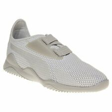New Mens Puma White Grey Mostro Breathe Textile Trainers