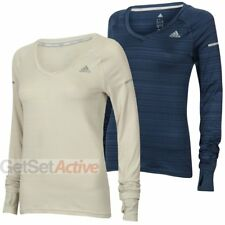 adidas Womens Ladies Go-To Gear Slim Fit V-Neck Long Sleeve Running T-Shirt Top