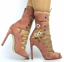 LADIES WOMENS ZIP FLAT LOW BLOCK HEEL ANKLE CHELSEA LACE UP BOOTS SHOES SIZE 3-7