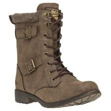 New Womens Rocket Dog Brown Billie Pu Boots Ankle Lace Up