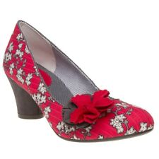 New Womens Ruby Shoo Red Samira Textile Shoes Floral Slip On
