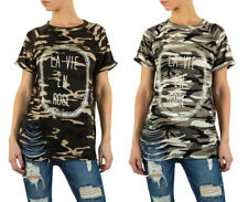 Shirt Damen Destroyed Camouflage Skater 3264 Armee T-Shirt S M L WOW