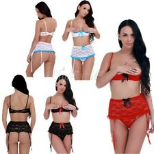 Women Ladies Sexy Lace Lingerie Babydoll Bra Bottom Mini Skirt G-string Outfits
