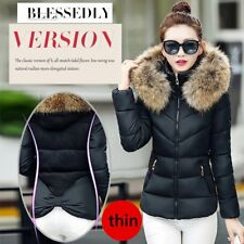 Winter Women's Down Cotton Padded Short Fur Collar Hooded Coat Quilted Jacket JJ