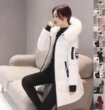 Fashion Women Long Down Cotton Padded Parka Fur Collar Hooded Coat Winter Jacket