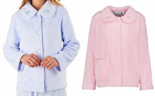 Bed Jacket Slenderella Womens Button Up Floral Collar Coral Fleece House Coat