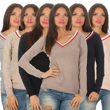 11334 sportive femmes pull à maille fine Pull tricot manches longues col en V