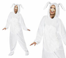 White Bunny Rabbit Adults Fancy Dress Costume Easter Bunny Outfit M,L