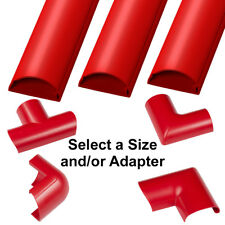30mm x 15mm Red Round D Trunking & Adapters–ADHESIVE BACKED–Cable Conduit Tube