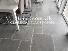 Tumbled Aged Cathedral Antique Light Grey Limestone Tiles Sample - Black brushed limestone tile