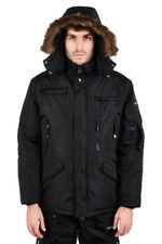 Mens Location Hunter Black Military Parka Jacket Waterproof Padded Winter Coat