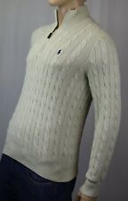 POLO Ralph Lauren Cream 1/2 Half Zip Silk Sweater Navy Blue Pony NWT $125