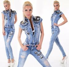 Sexy Womens Denim Jumpsuit stretch Overalls skinny Jeans Blue acid wash UK 6-14