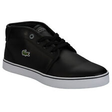 Junior Boys Lacoste Ampthil Trainers In Black- High Top- Lace Fastening -