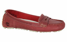 Timberland EK Falmouth Womens Slip On Burgundy Ballerina Leather Shoes 27692 U80